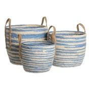 Set 3 Cestos de Fibra de Junco Blanco Azul 38 x 38 x 33 cm