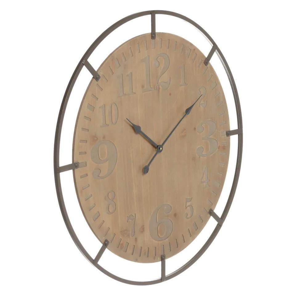Reloj de Pared Industrial de Madera Dm Natural 4 x 83 x 83 cm
