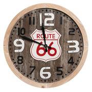 Reloj de Pared en Metal y DM Marrón Natural 4,5 x 60 x 60 cm