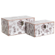 Set 2 Cajas Flores Blanco Gris 18 x 30 x 15 cm