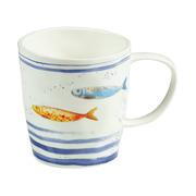 Taza Bord Du Mer de Porcelana Blanco Azul 8,5 x 13 x 9 cm