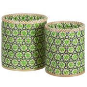 Set 2 Cestos de Bambú Verde Natural 26 x 26 x 43 cm