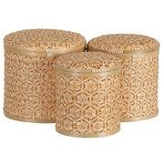 Set 3 Cestos con Tapa de Bambú Natural Marrón 27 x 27 x 26 cm