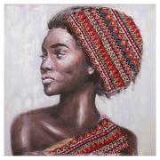 Cuadro Africana Impresión en Lienzo Rojo 3 x 80 x 80 cm