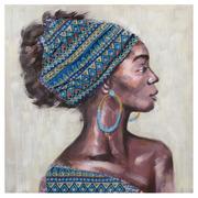 Cuadro Impresión en Lienzo Africana Azul 3 x 80 x 80 cm