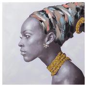 Cuadro Africana Collar Amarillo Impresión en Lienzo 3 x 80 x 80 cm