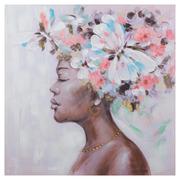 Cuadro Africana Flores Impresión en Lienzo 3 x 80 x 80 cm