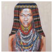 Cuadro Africana Multicolor Impresión en Lienzo 3 x 80 x 80 cm