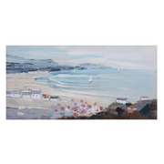 Pintura a mano en Lienzo Playa Azul Crema 2,8 x 120 x 60 cm