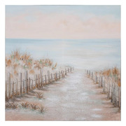 Pintura a mano Playa Beige Azul en Lienzo 2,8 x 100 x 100 cm