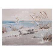 Pintura a mano Playa Beige Azul en Lienzo 2,8 x 120 x 90 cm