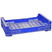 Caja de Plástico Rejillada Azul Usada 32 x 50 x 11 cm