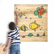 Cuadro Infantil para Pintar Peces 60 x 70 cm