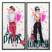 Cuadro Impresión Chicas Multicolor 2 x 39 x 79 cm