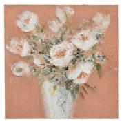 Pintura Jarrón con Flores Blancas en Lienzo 2,8 x 50 x 50 cm