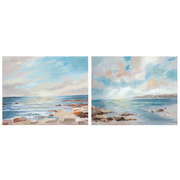 Set 2 Cuadros Oleo Mar en Lienzo 4 x 28 x 35 cm