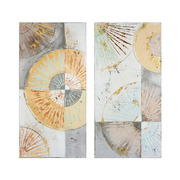 Set 2 Cuadros Oleo Abstracto en Lienzo 4 x 50 x 100 cm