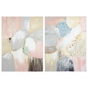 Set 2 Cuadros Oleo Rosa en Lienzo 4 x 60 x 80 cm