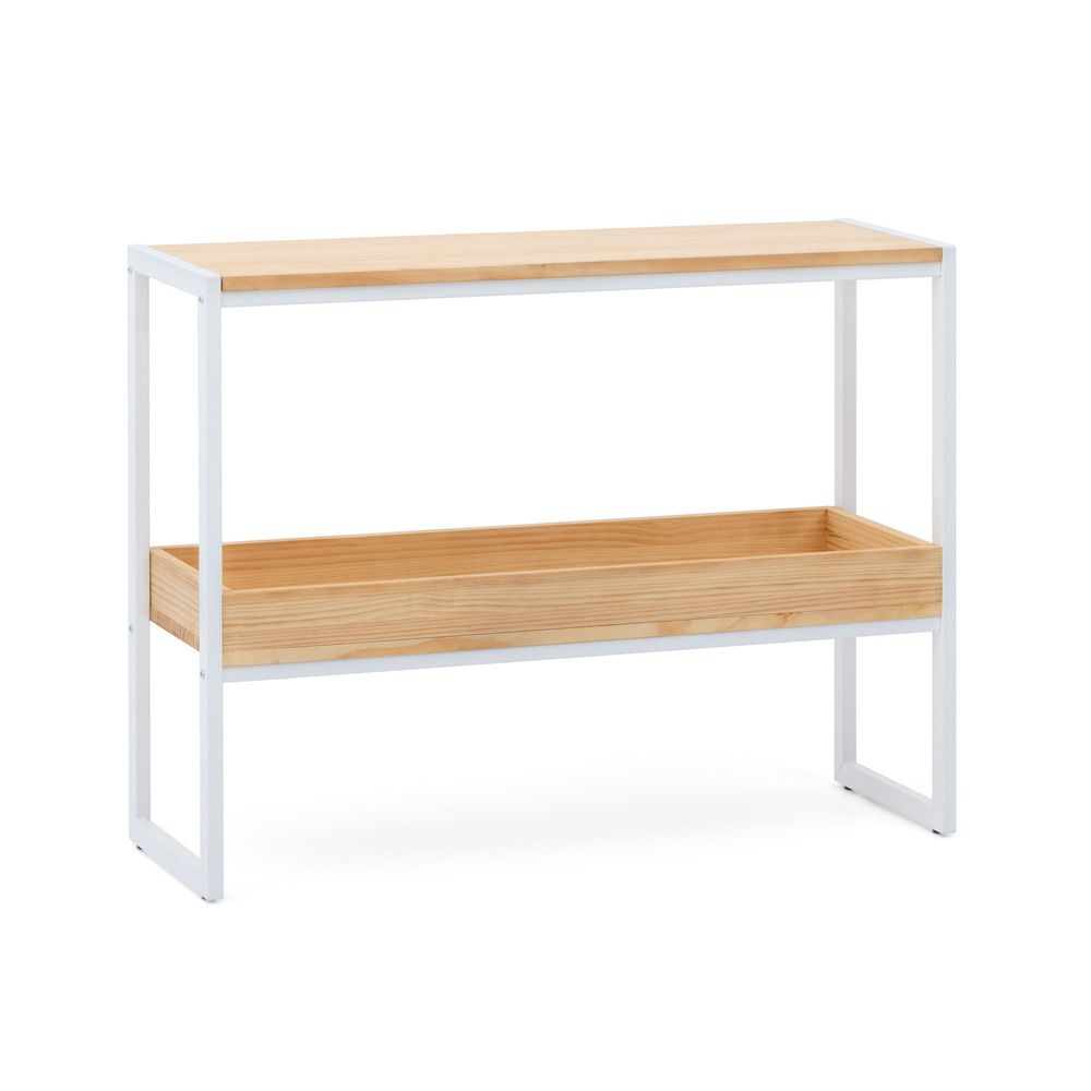 Consola iCub ECO Industrial Box Furniture Blanca Natural con Bandeja