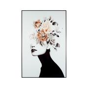 Cuadro Flores en el Pelo Blanco en Lienzo 2,5 x 80 x 120 cm