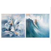 Set 2 Cuadros Surf Oleo en Lienzo 4 x 100 x 100 cm