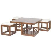Mesa de Centro Forest con 3 Taburetes 90 x 90 x 45 cm