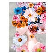 Cuadro Mujer Flores Impreso en Lienzo 3,5 x 90 x 120 cm
