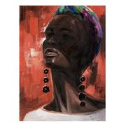 Pintura en Oleo Africana Sobre Lienzo de Madera 2,8 x 90 x 120 cm