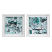 Cuadro Pintura Abstracto Verde con Marco 3 x 40 x 40 cm