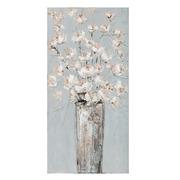 Pintura Jarrón Flores Blancas en Lienzo 2,8 x 50 x 100 cm