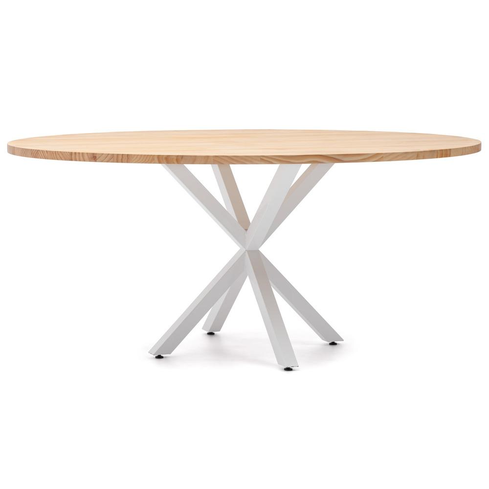 Mesa de Comedor Ovalada con Pata Estrella Estilo Industrial Blanco Natural