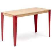 Mesa Lunds Industrial Tablero Natural Patas Rojas