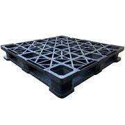 Palet Negro Superficie Rejada 6 Patines Usado 114 x 114 x 17 cm