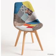 Silla Mona Patchwork de Madera y Poliéster 43 x 44 x 82 cm