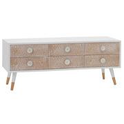 Mueble de Televisión de Madera Blanca 6 Cajones 40 x 120 x 50 cm